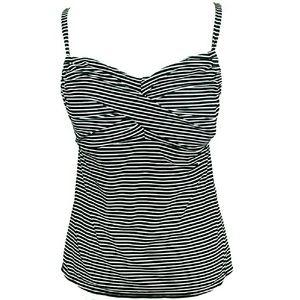 Kim Rogers Tankini Swim Top Black White Stripe XL